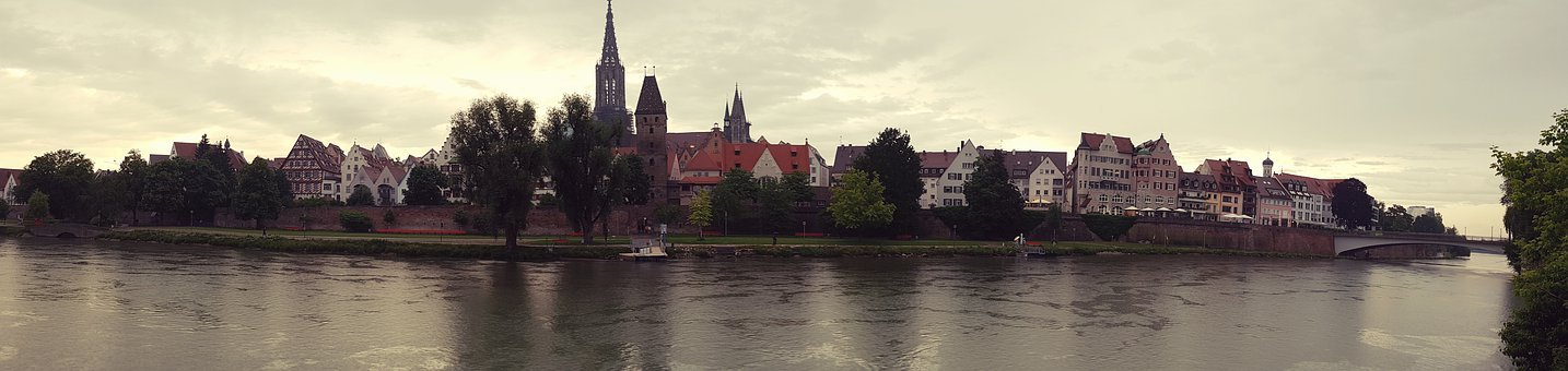 Danube, City View, Ulm, Panorama, City Wall, Houses