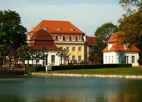 Bad Lauchstädt, View, Kuranlage, Historical, Pond