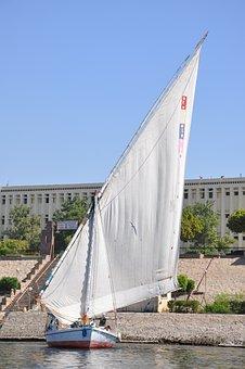 Felucca, Sailing, Egyptian, Wind, Nile, Egypt, Sailboat