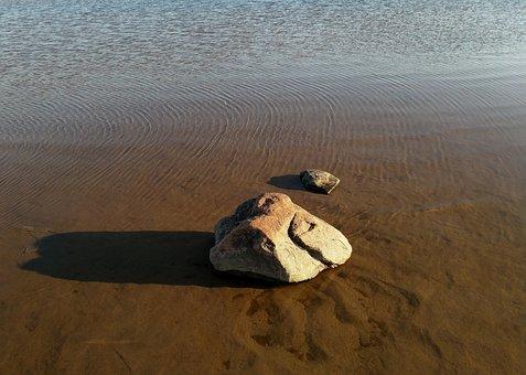 Rock, Water, Beach, Ripples, Shadow, Brown, Stone
