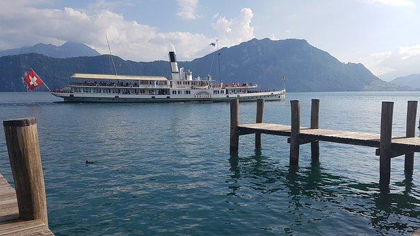 Switzerland, Interlaken, Thun, Lake, Lake Thun, Travel