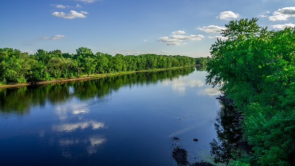 River, Water, Tree, Blue, Clouds, Green, Landscape, Sky
