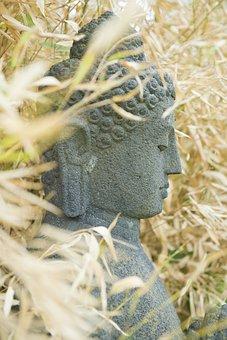 Buddah, Stone Figure, Monk, Faith, Autumn, Garden