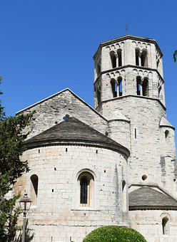 Girona, Spain, City, Church, Romanesque, Rhaeto Romanic