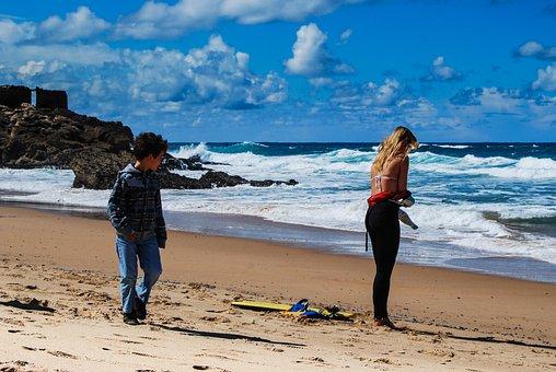 Beach, Girl, Getting Ready, Surf, Sea, Ocean, Wave