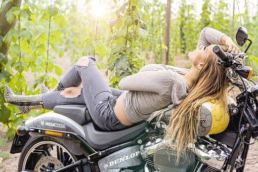 Motorcycle, Girl, Lady, Harley Davidson, Chopper, Model