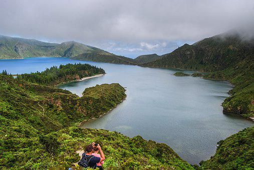 Azores, Lagoon, Landscape, Cloudy, Scenery