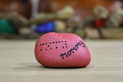 Mommy, Braille, Mother, Rock, Stone, Painted Rock