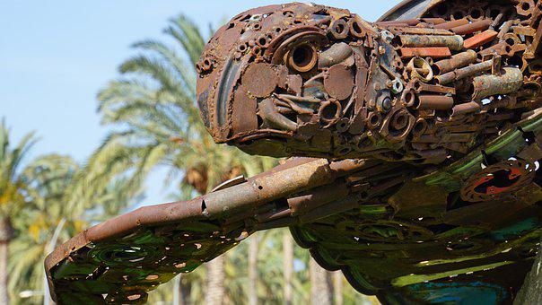 Sculpture, Art, Turtle, Recycling, Rusty, Palm Trees