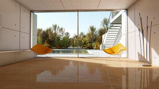 Pool, Window, Chairs, Sofa, Sunlight, House, Luxury