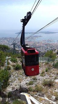 Gondola, Red, Black, City, Toulon, Mountain, Mount