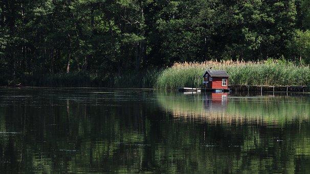 Lake, Landscape, Hut, Nature, Reflection, Reed, Scenic