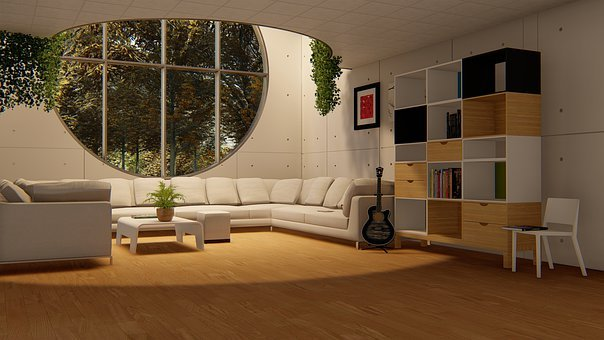 Round Window, Living Room, Sofa Set, Drawing Room