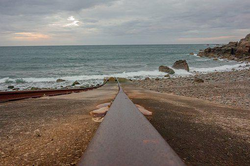 Sea, Shore, Rail, Beach, Path, Line, Sky, Cloud