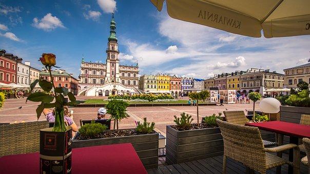 Town Square, Caffe, Restaurant, Bar, Drink, Summer