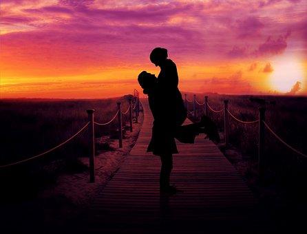 Couple, Dusk, Romance, Sunset, Love, Relationship