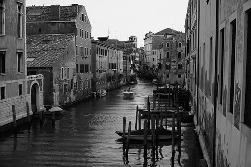Venice, Canal, Black And White, Water, City, Romantic