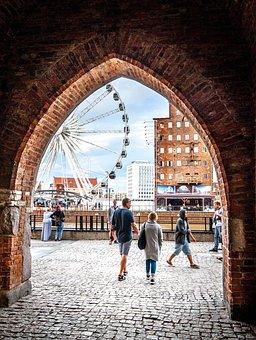 Arch, Ferris Wheel, City, Architecture, Tourism, Water