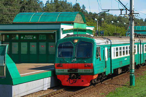Elektrichka, Rails, Train, Station, Cars