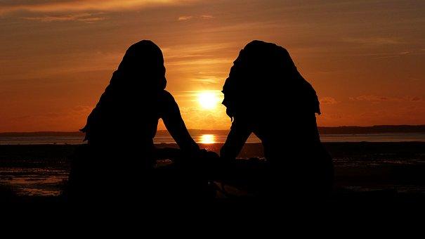 Sunset, Women, Silhouette, People, Sky, Sea, Hair