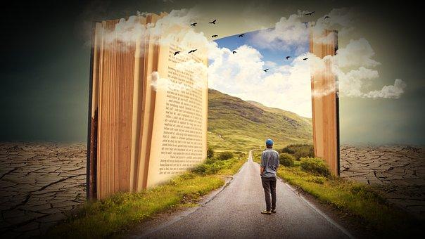 Book, Man, Human, Learn, Read, Road, Landscape, Clouds