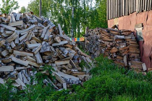 Firewood, Pile, Garden, Billet, Logs, Village, Lap