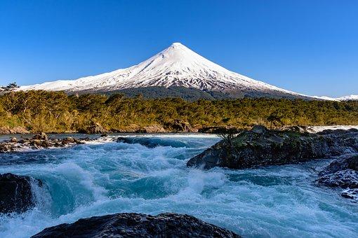 Mountain, River, Blue Sky, Landscape, Nature, Water