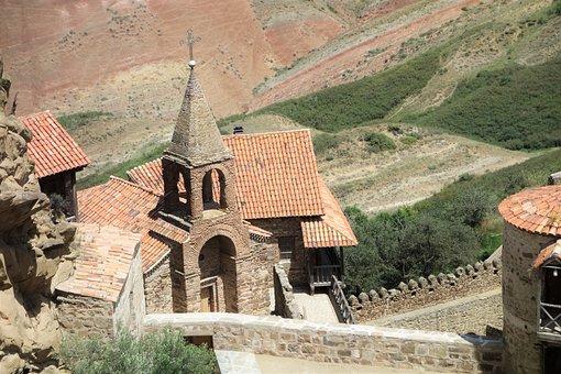 Monastery, Georgia, Religion, Caucasus, Church, Nature