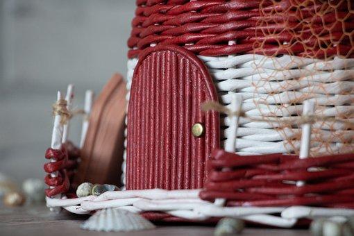 Handmade, Red, White, Net, Network, Door, Entrance