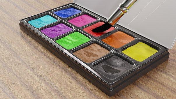 Malkasten, Color, Brush, Watercolour, Paint, Art
