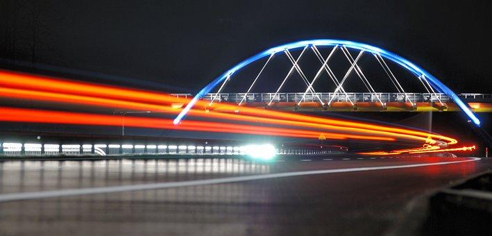 The Viaduct, Light, Cars, Way, Bridge, Street, Night