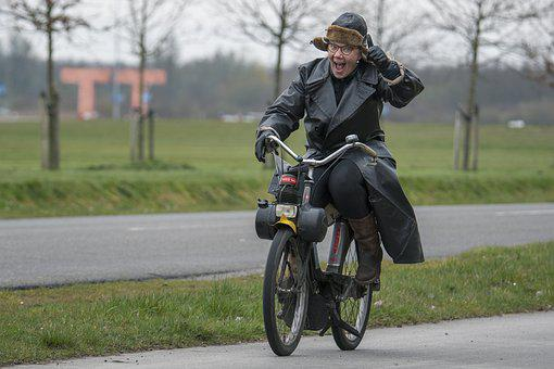 Tt, Woman, Funny, Crazy, Moped, Old Fashioned, Humor