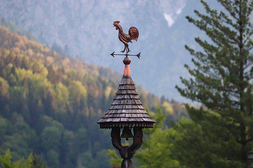 Weather Vane, Turret, Wooden Roof, Wind Direction, Bell