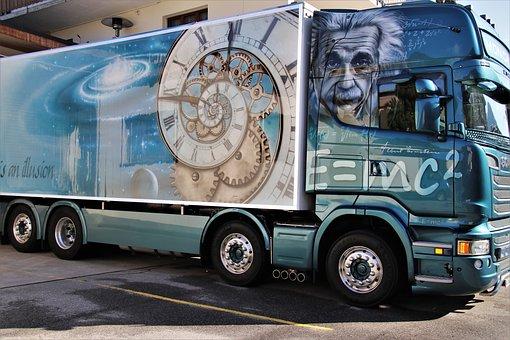 Truck, Delivery, Trailer, Albert Einstein, Physicist