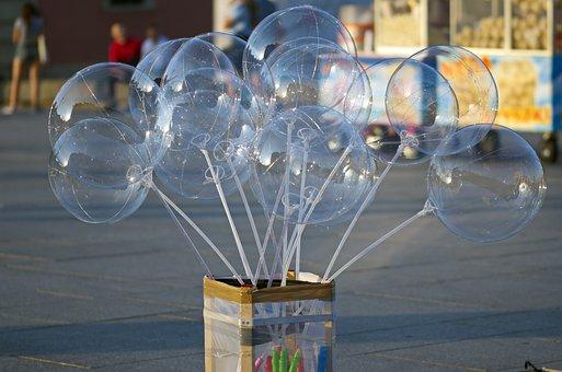 Box, Carton, Balloons, Thin, Plastic, Blue, Transparent