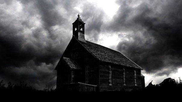 Night, Church, Wood, Cloud, Dark, Building