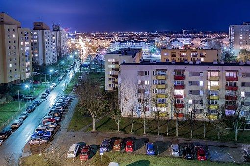 Osiedle, Housing, Blocks, Night, Street, Cars, Leave