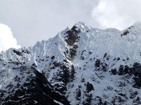 Humantay, Top, Mountain, Climbing, Andy, Peru, Array