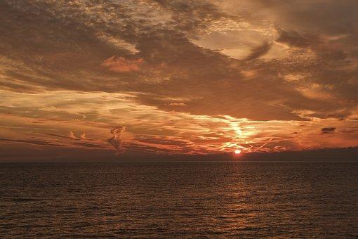 Sunset, Sea, Sky, Color, Dawn, Water, Liguria, Italy