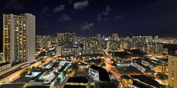Waikiki, Honolulu, Hawaii, Skyline, City, Architecture