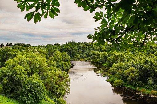 Landscape, Nature, Clouds, River, Lovat, Greens, Summer