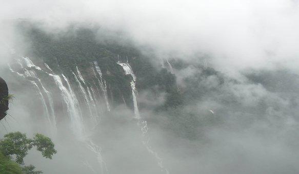 Waterfall, Cloud, Sky, Fantasy, Landscape, Nature