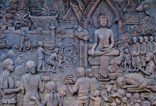 Bas Relief, Buddha, Panels, Religious, Spirituality