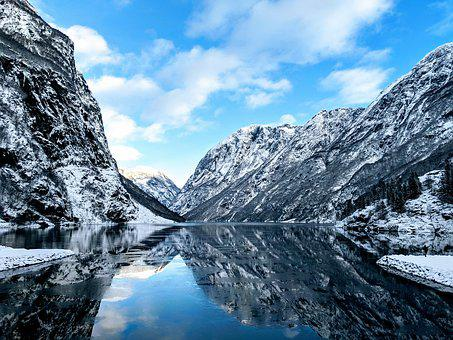 Fjord, River, Norway, Snow, Snowy, Cliff, Mountain