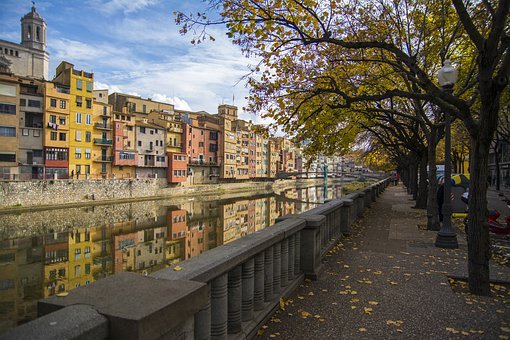 Girona, Spain, Tour, River, Reflection, View