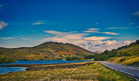 Scotland, Mountains, Road, Lonely