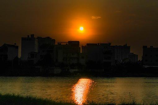 Sunset, Sun, River, Landscape, Sky, Mood, Nature, Dusk