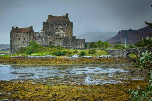 Eilean Donan Castle, Scotland, Castle, Sea, Water, Old