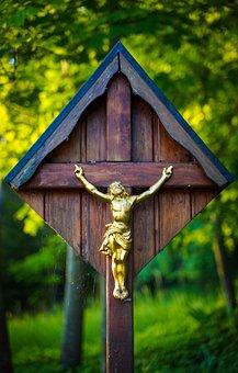 Wayside Cross, Cross, Jesus, Golden, Wood, Crucifixion