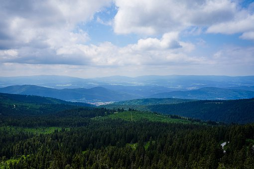 Panorama, Bavarian Forest, Arber, Sky, Cloudiness